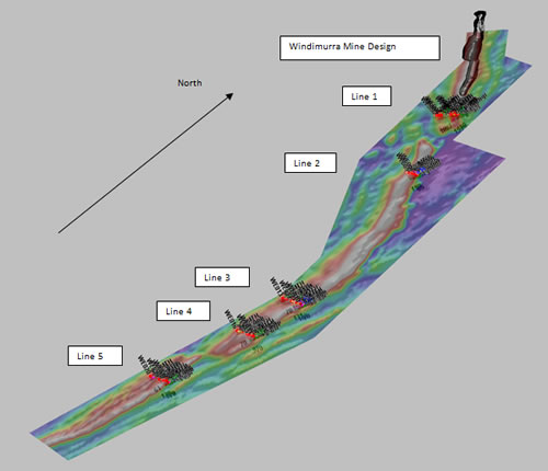 3D of Aeromagnetic signature with drill lines